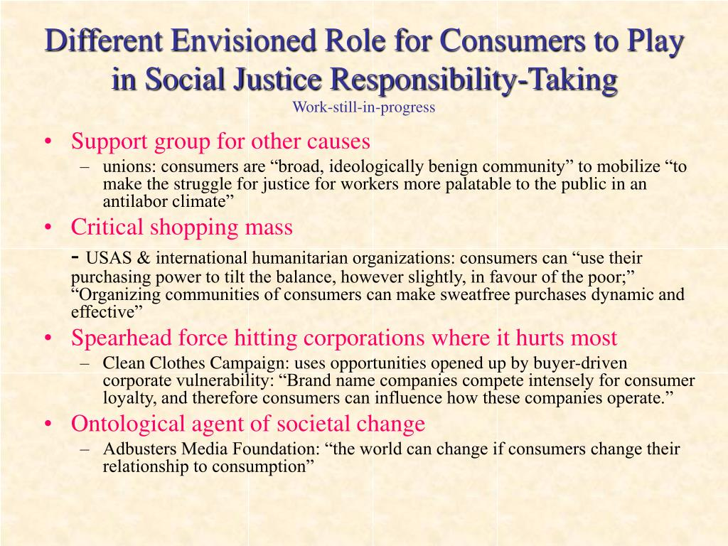 Different Envisioned Role for Consumers to Play in Social Justice Responsibility-Taking