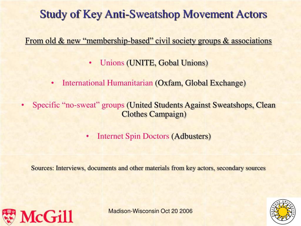 Study of Key Anti-Sweatshop Movement Actors
