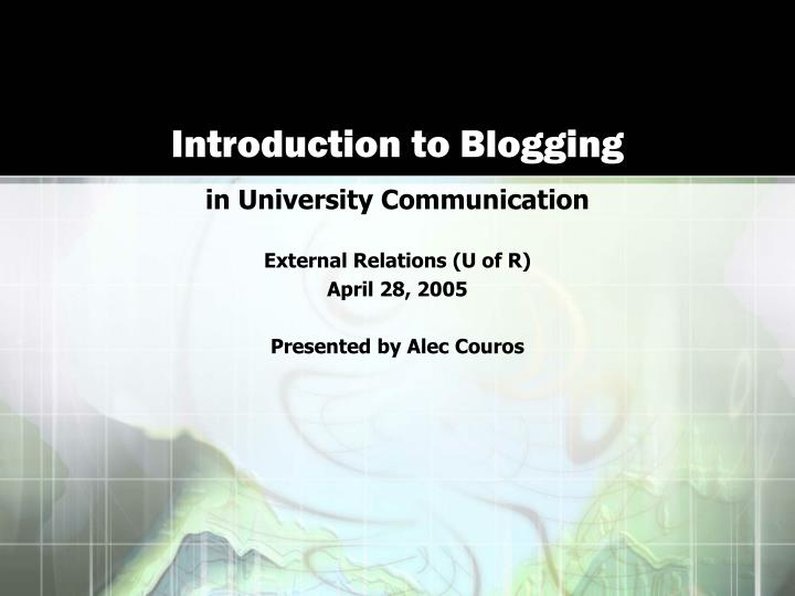 introduction to blogging n.