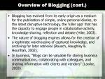 overview of blogging cont