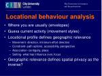 locational behaviour analysis