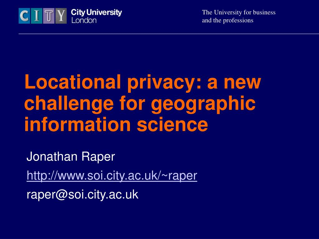 locational privacy a new challenge for geographic information science l.