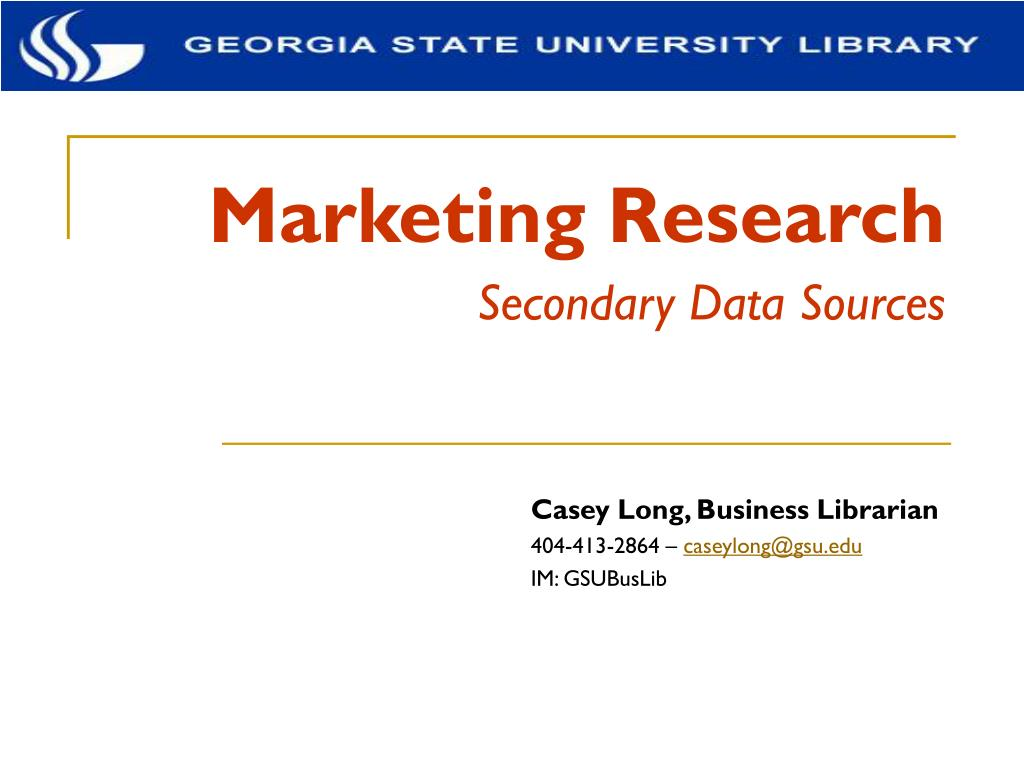 marketing research secondary data sources l.