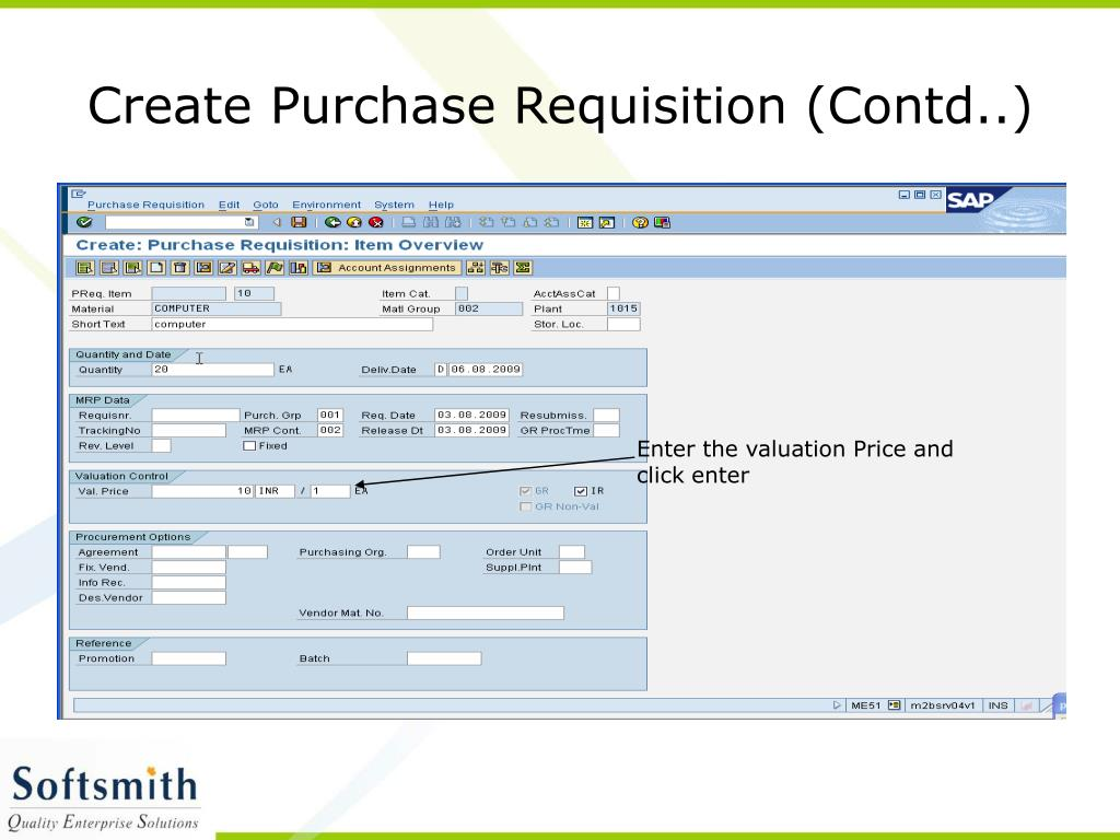 Create Purchase Requisition (Contd..)