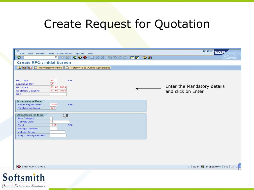 Create Request for Quotation