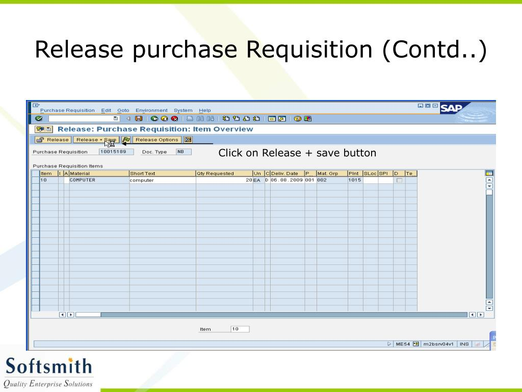 Release purchase Requisition (Contd..)