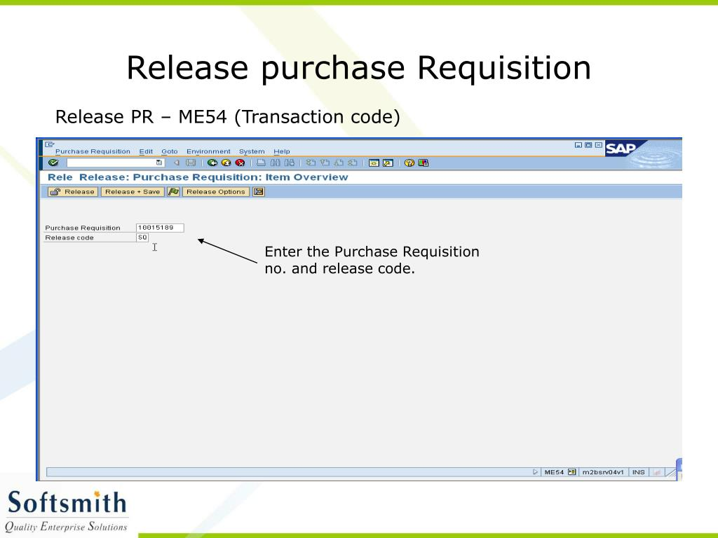 Release purchase Requisition