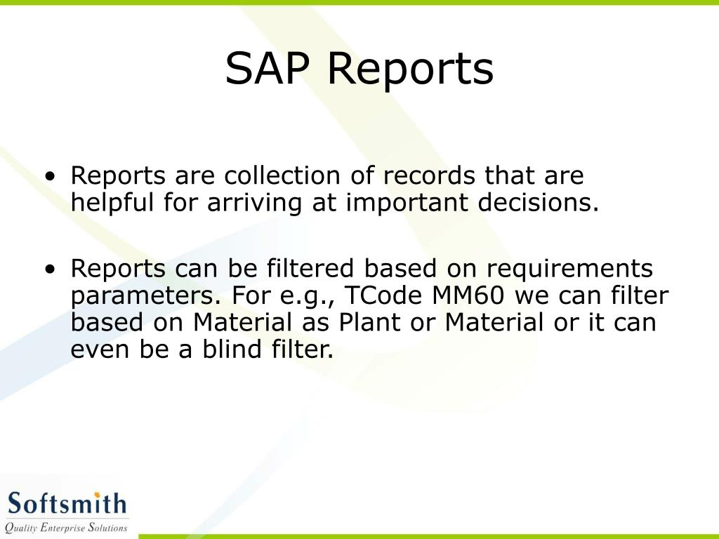 SAP Reports