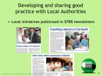 developing and sharing good practice with local authorities