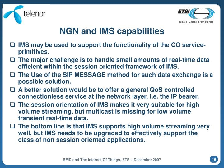 NGN and IMS capabilities