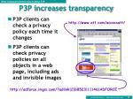 p3p increases transparency