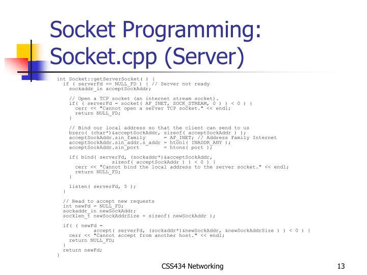 Socket Programming: Socket.cpp (Server)