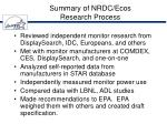 summary of nrdc ecos research process