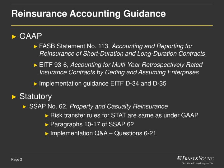 Reinsurance accounting guidance