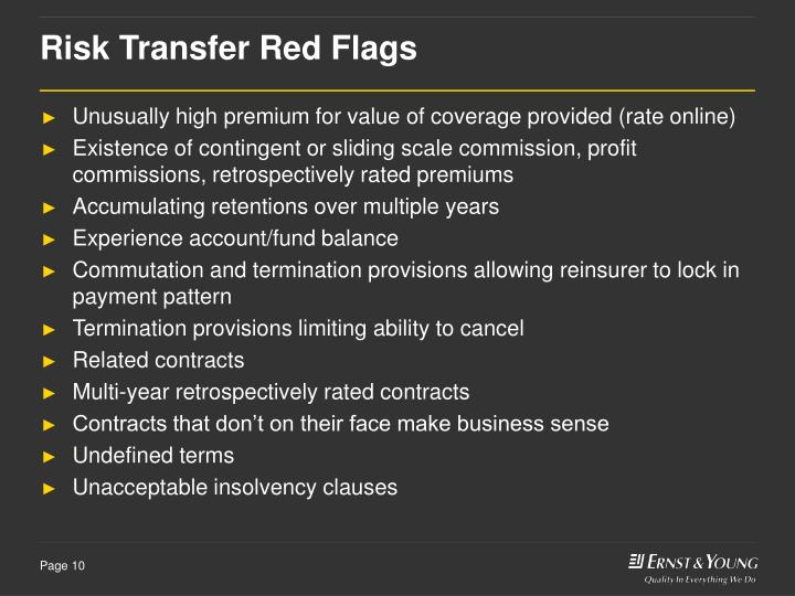 Risk Transfer Red Flags