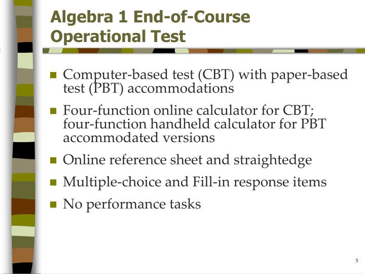 Algebra 1 End-of-Course