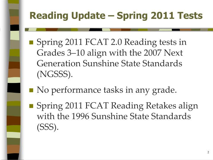 Reading update spring 2011 tests
