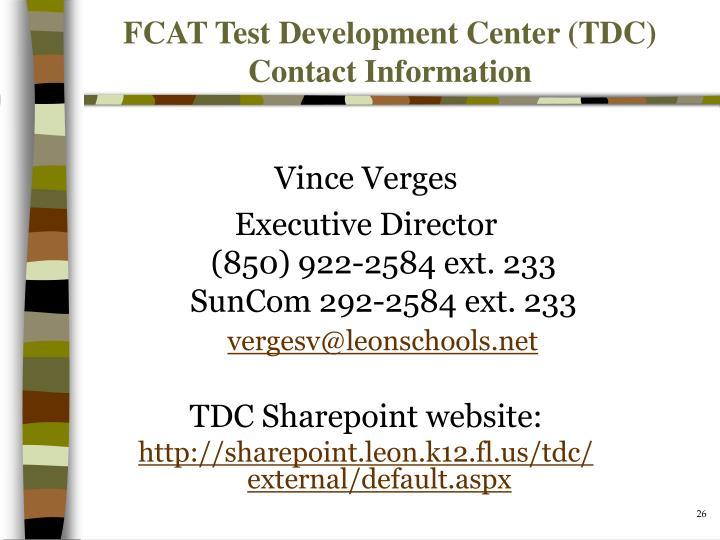 FCAT Test Development Center (TDC) Contact Information