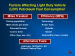 factors affecting light duty vehicle ldv petroleum fuel consumption