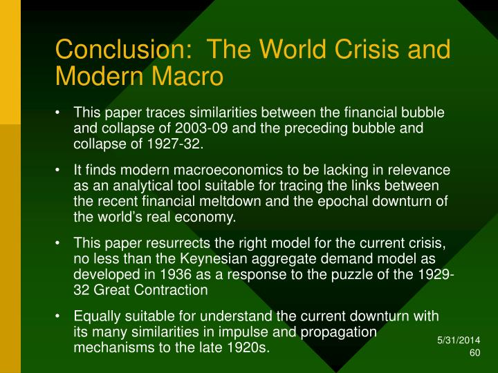 Conclusion:  The World Crisis and Modern Macro