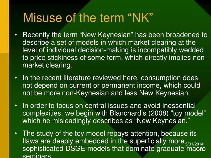 "Misuse of the term ""NK"""