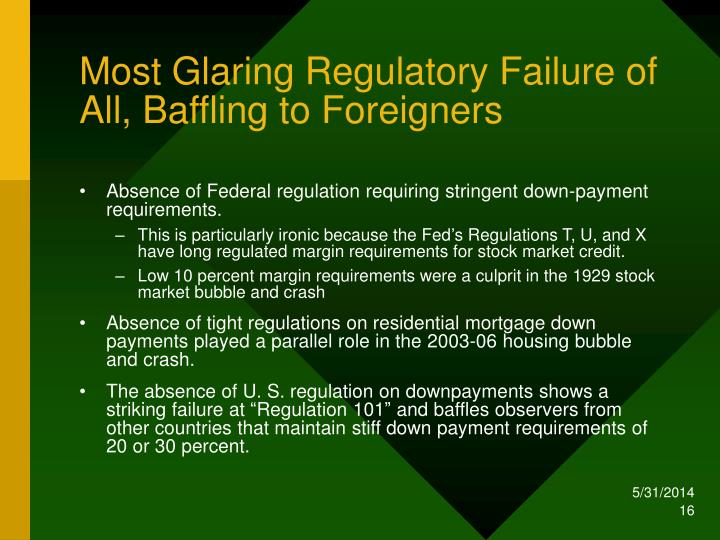 Most Glaring Regulatory Failure of All, Baffling to Foreigners