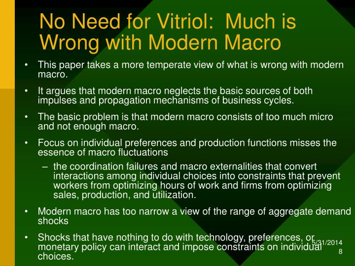 No Need for Vitriol:  Much is Wrong with Modern Macro