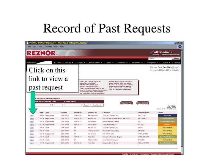 Record of Past Requests