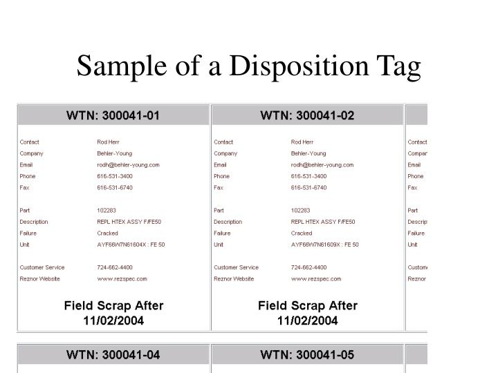 Sample of a Disposition Tag