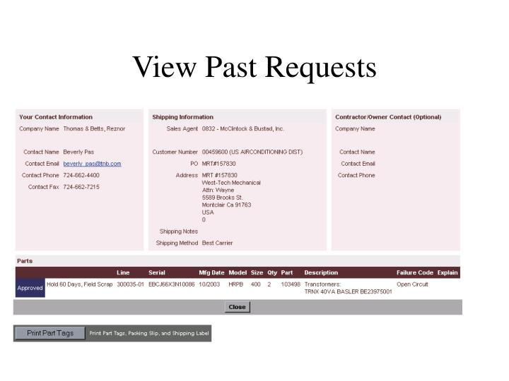 View Past Requests