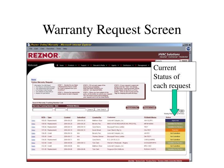 Warranty Request Screen