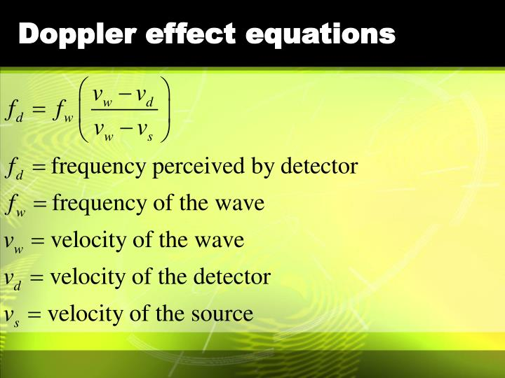 Doppler effect equations