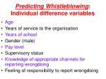 predicting whistleblowing individual difference variables
