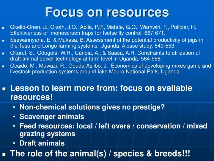 Focus on resources