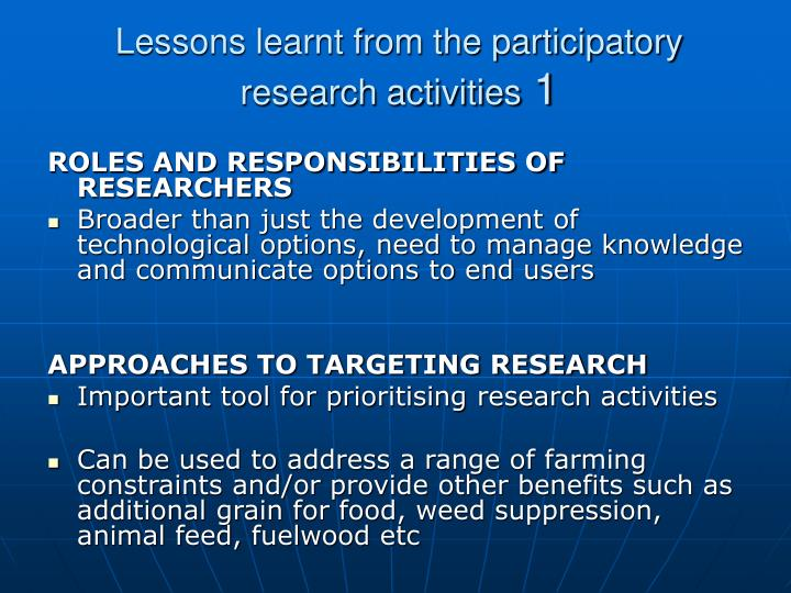 Lessons learnt from the participatory research activities