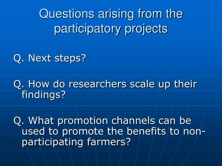 Questions arising from the participatory projects
