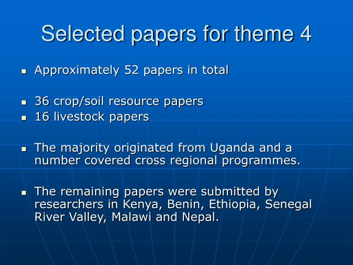 Selected papers for theme 4