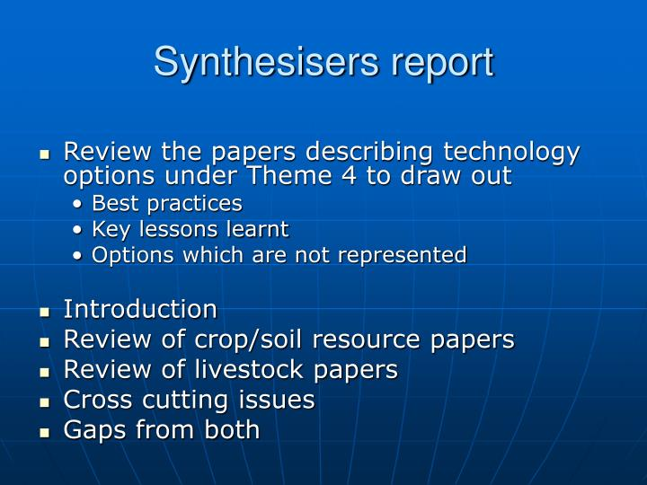 Synthesisers report
