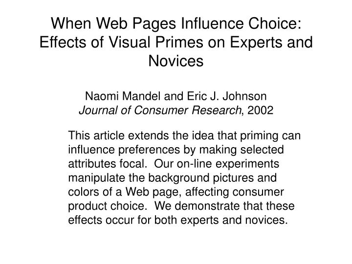 When Web Pages Influence Choice: