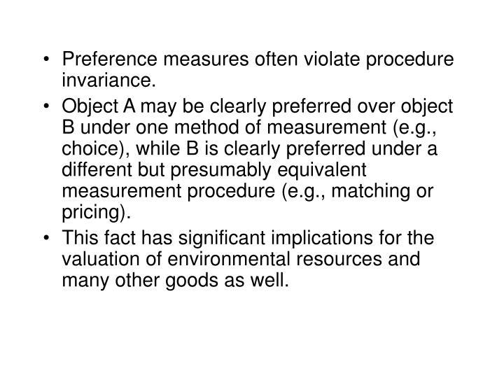 Preference measures often violate procedure invariance.