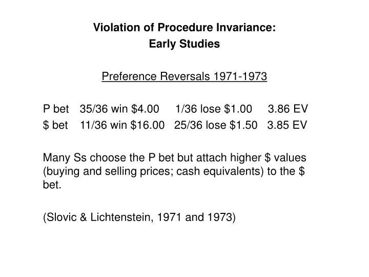 Violation of Procedure Invariance: