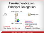 pre authentication principal delegation
