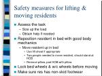 safety measures for lifting moving residents
