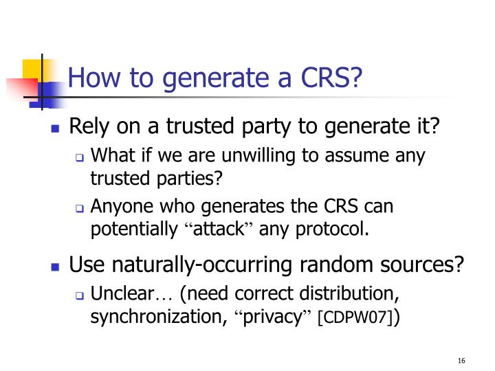 How to generate a CRS?