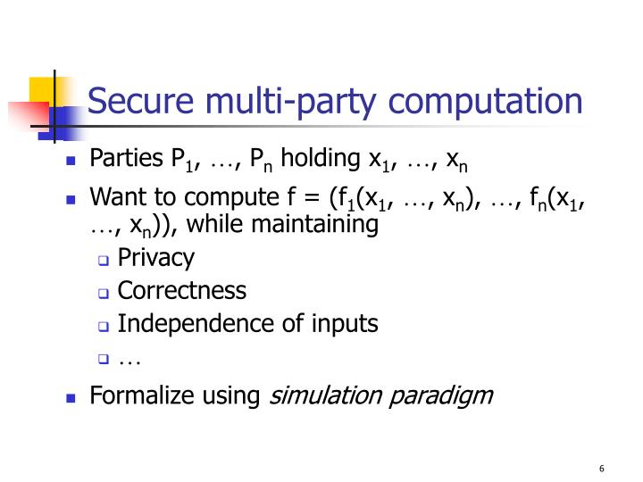 Secure multi-party computation