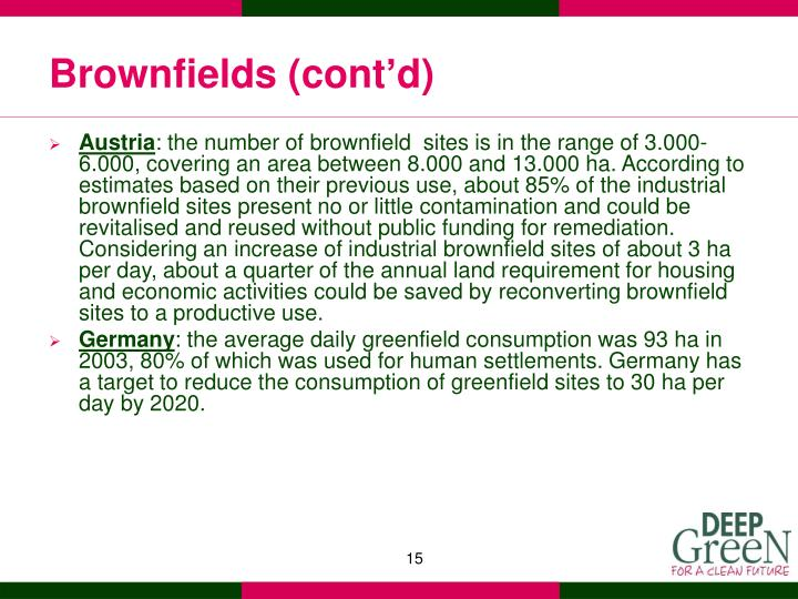 Brownfields (cont'd)