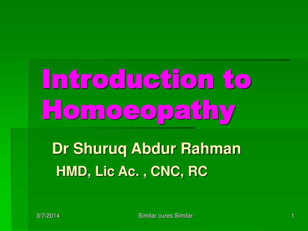 introduction to homoeopathy l.