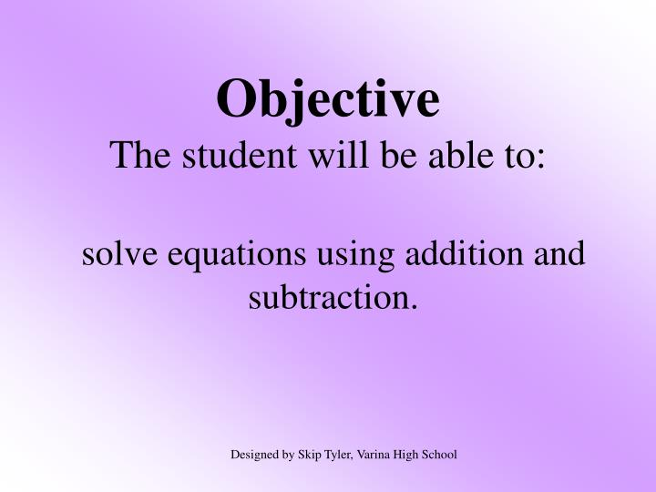 objective the student will be able to n.