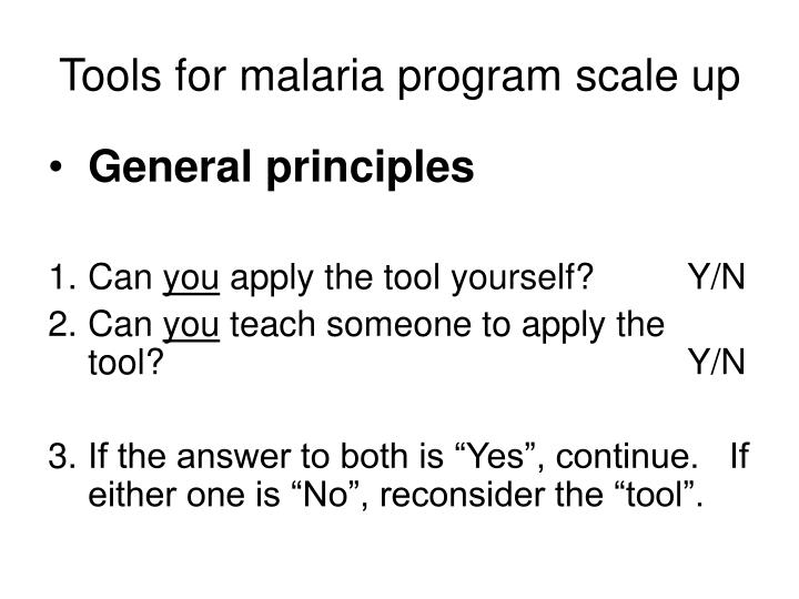 Tools for malaria program scale up1