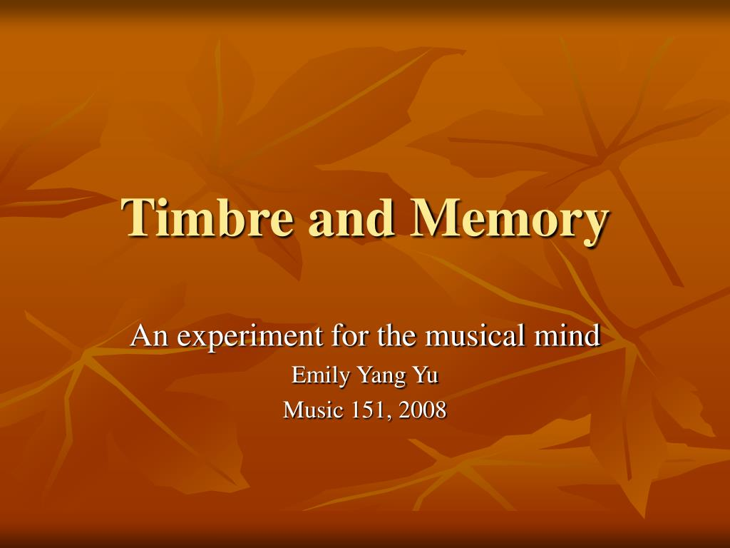 timbre and memory l.